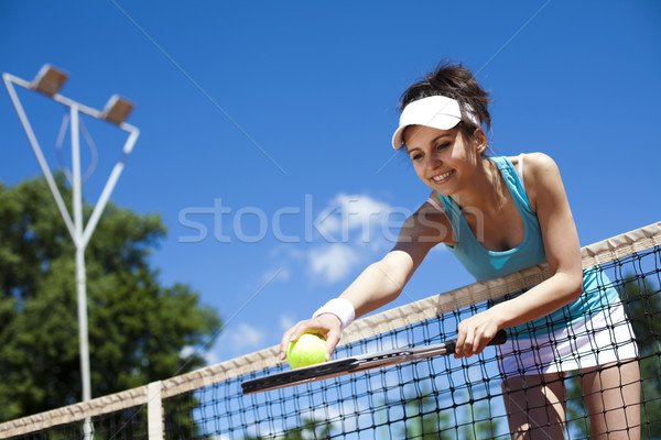 Stock photo: Playing tennis, natural colorful tone