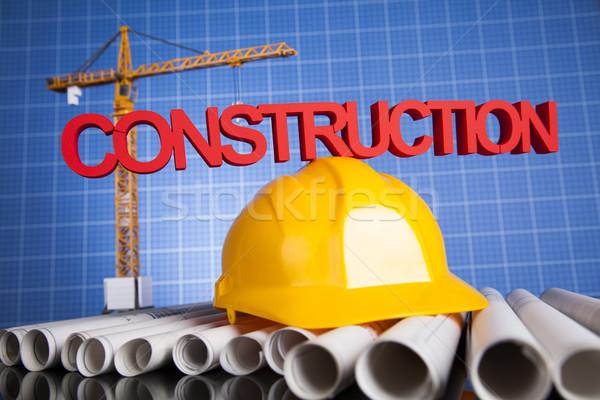 Bouwplaats kraan blauwdrukken gebouwen bouw business Stockfoto © JanPietruszka
