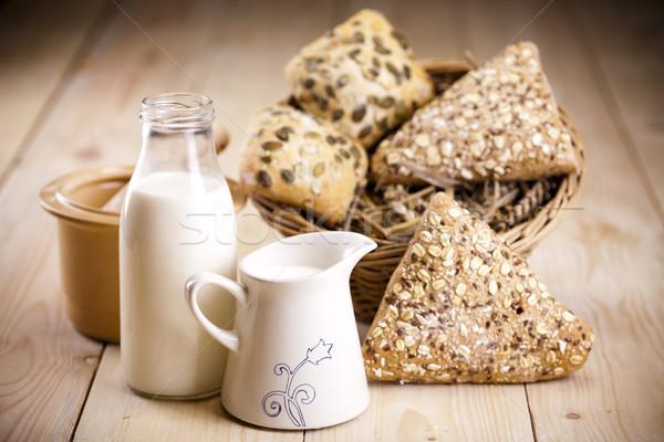 Vidéki bioélelmiszer háttér kenyér vacsora tojások Stock fotó © JanPietruszka