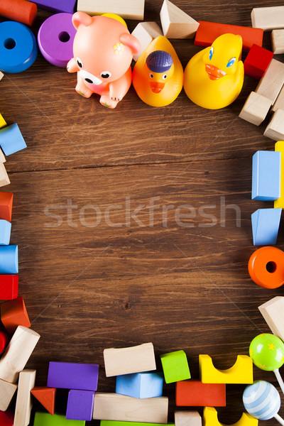 Stockfoto: Frame · ingesteld · kinderen · speelgoed · houten
