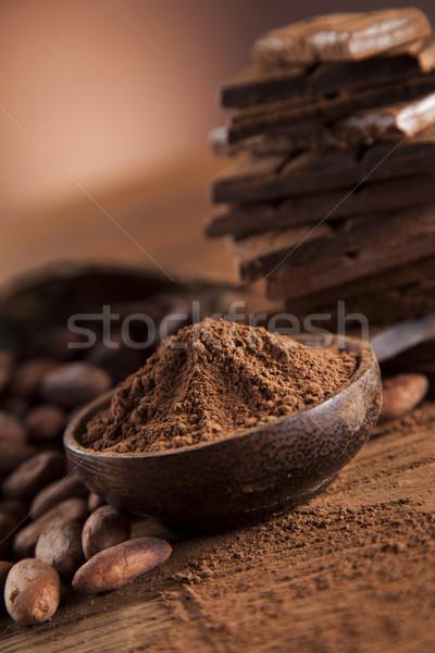 Csokoládé szelet cukorka édes desszert étel fából készült Stock fotó © JanPietruszka