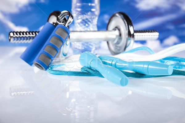 Fitness, dumbell and blue sky  Stock photo © JanPietruszka