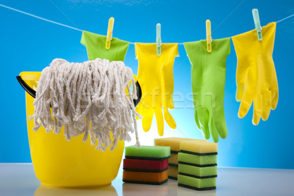Zestaw produktów czyszczących pracy domu butelki czerwony Zdjęcia stock © JanPietruszka