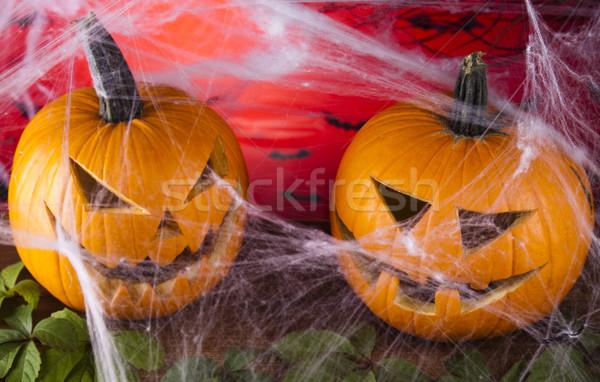 Halloween internetowych oczy tle pomarańczowy przestrzeni Zdjęcia stock © JanPietruszka