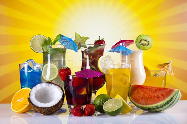 Foto stock: álcool · bebidas · conjunto · frutas · comida · mar