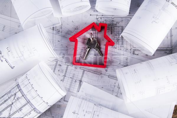 Casa construção blueprints modelo arquitetura papel Foto stock © JanPietruszka
