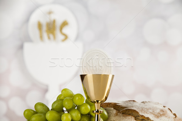 Holy communion for christianity religion, elements on white back Stock photo © JanPietruszka