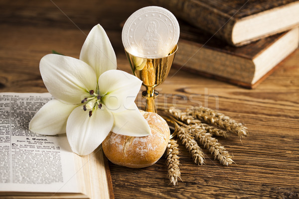 Holy Communion Bread, Wine for christianity religion Stock photo © JanPietruszka