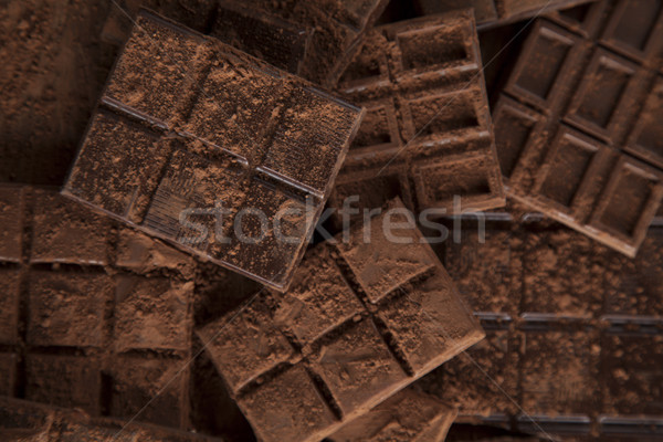 Chocolate bar, candy sweet, dessert food on wooden background Stock photo © JanPietruszka