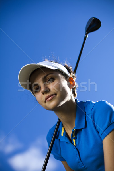 Girl playing golf, bright colorful vivid theme Stock photo © JanPietruszka