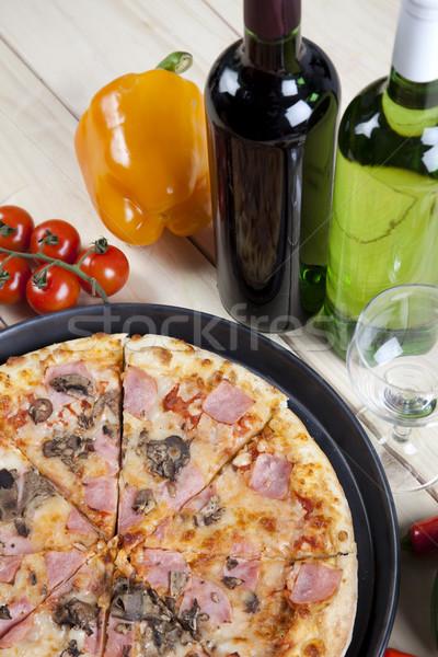 Supreme pizza in pan, tasty natural food theme Stock photo © JanPietruszka