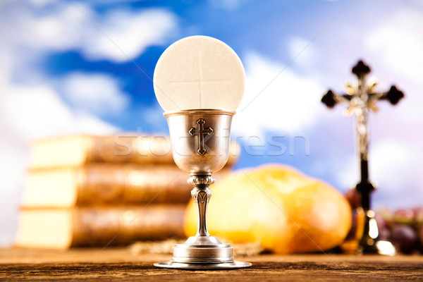 Communion wafer, bright background, saturated concept Stock photo © JanPietruszka