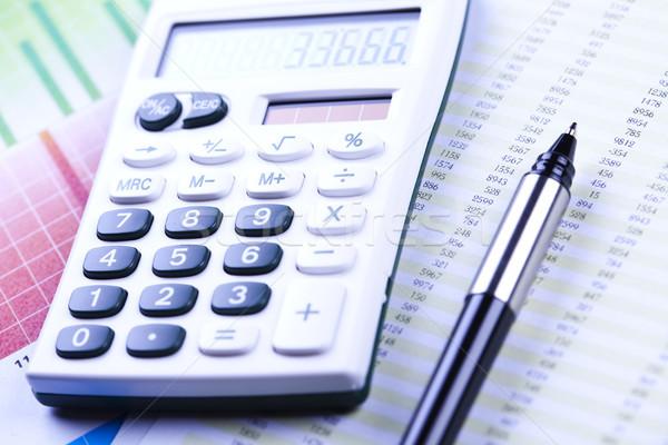 Diagram and calculator, bright colorful tone concept Stock photo © JanPietruszka