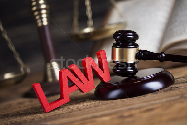 Law wooden gavel barrister, justice concept, legal system concep Stock photo © JanPietruszka