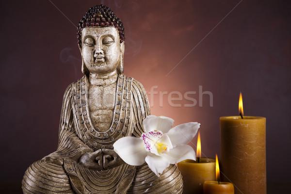 Photo stock: Buddha · bougie · soleil · fumée · détendre · culte