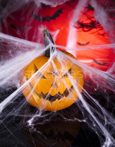 Miedo calabaza de halloween ojos fondo espacio vela Foto stock © JanPietruszka