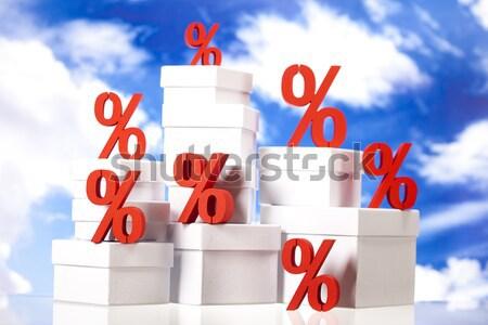Pourcentage réduction coloré rouge Finance banque Photo stock © JanPietruszka