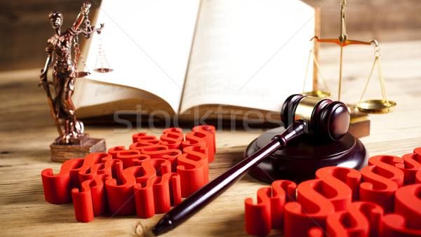 правосудия масштаба молоток природного красочный древесины Сток-фото © JanPietruszka