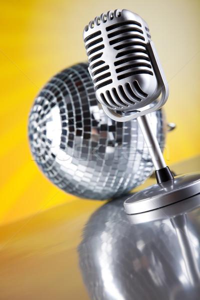 Vintage microphone, music saturated concept Stock photo © JanPietruszka