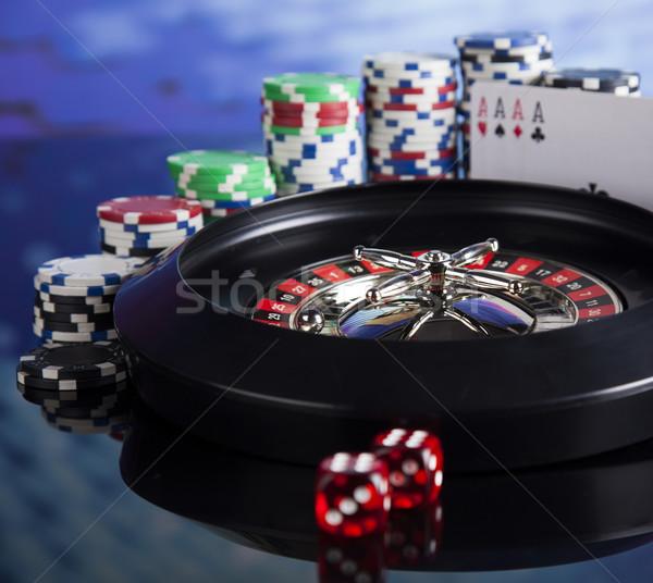 Roulette casino poker chips spelen chips leuk Stockfoto © JanPietruszka