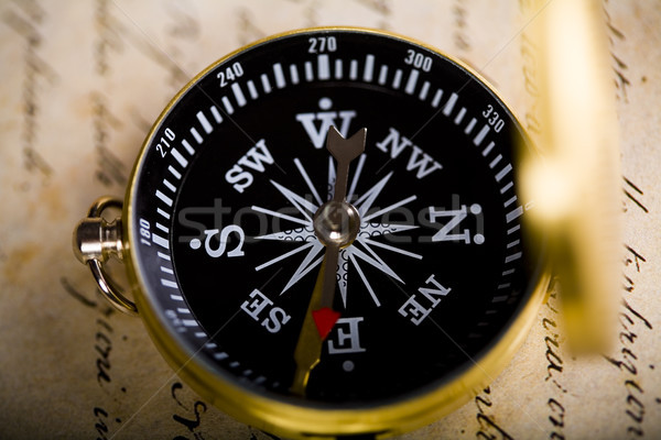 Compass on the old paper background Stock photo © JanPietruszka