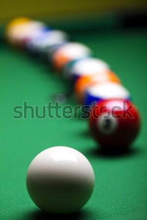 Medence játék golyók zöld sport háttér Stock fotó © JanPietruszka