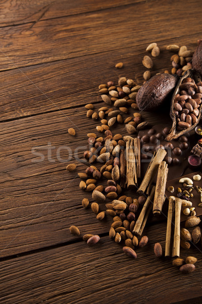 Aromatic cocoa, powder and Dark chocolate background   Stock photo © JanPietruszka