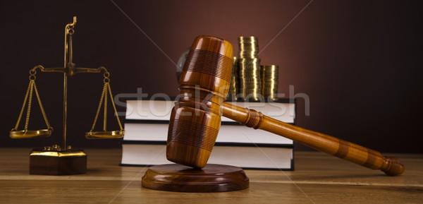 ストックフォト: 法 · 木材 · ハンマー · 白 · 裁判官 · 裁判所