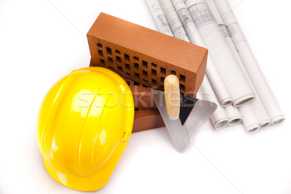 Brick, trowel tool and Construction background Stock photo © JanPietruszka