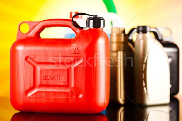 Canisters, Liquids for car on vivid moto concept Stock photo © JanPietruszka
