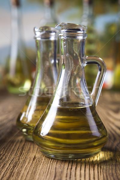 Photo stock: Huile · d'olive · rural · feuille · verre · vert
