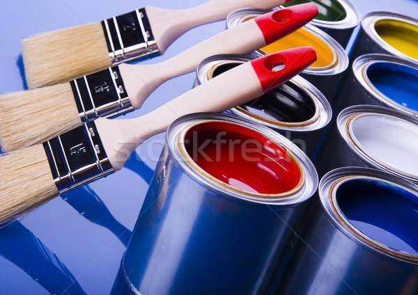 Paint, cans, brush, bright colorful tone concept Stock photo © JanPietruszka