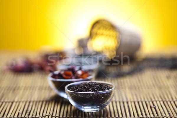 Verre théière thé citron fleur médecine Photo stock © JanPietruszka