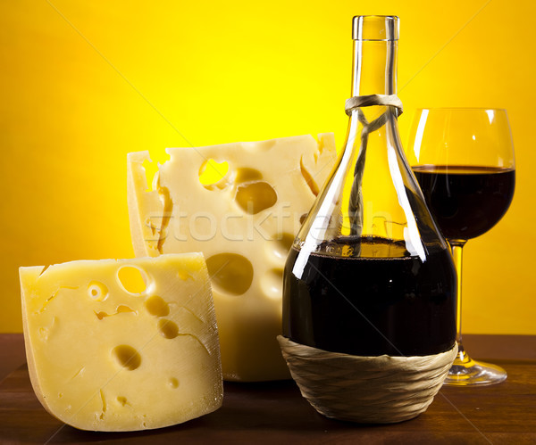 Wine and Cheese still life, saturated ambient rural theme Stock photo © JanPietruszka