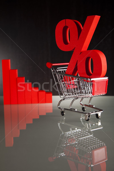 Stock photo: Shopping supermarket cart, percent sign