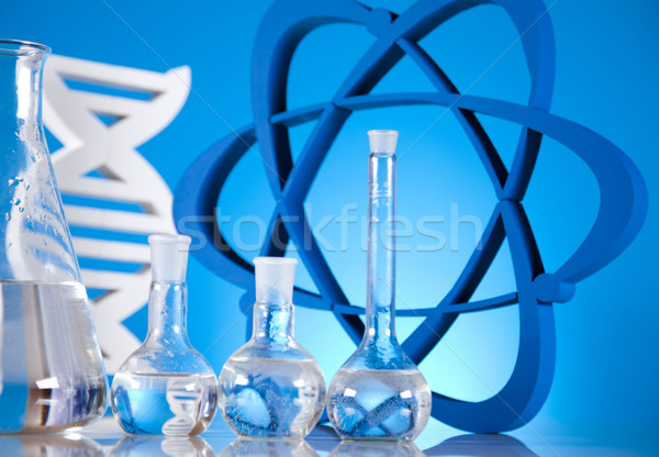 Stock photo:  Atom, Molecules model, Laboratory glassware