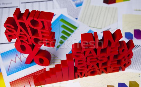 Prozentsatz Ermäßigung farbenreich Zeichen rot Finanzierung Stock foto © JanPietruszka