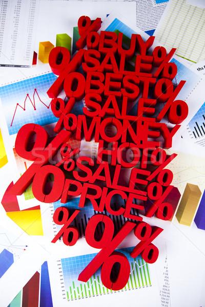Sprzedaży procent podpisania naturalnych kolorowy czerwony Zdjęcia stock © JanPietruszka