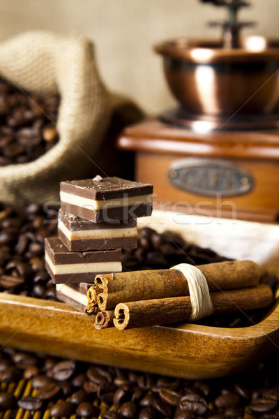 Chocolate and Nuts, vivid colors, natural tone Stock photo © JanPietruszka
