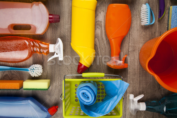 Foto d'archivio: Prodotti · di · pulizia · set · home · finestra · gruppo · bottiglia
