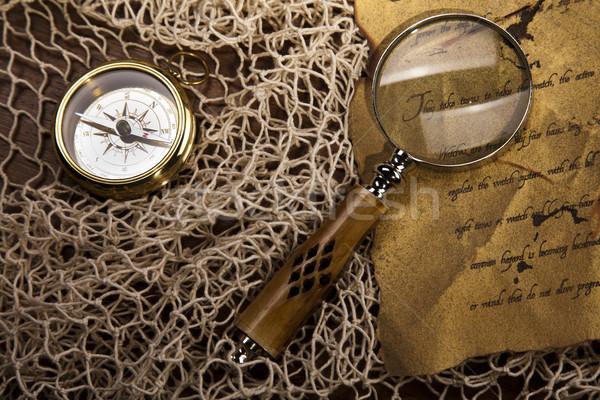 Сток-фото: Vintage · навигация · оборудование · компас · бумаги · карта