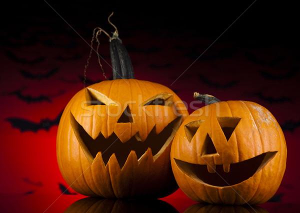 Calabaza de halloween miedo ojos fondo espacio vela Foto stock © JanPietruszka