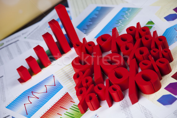 Stock photo: Finance concept, Percent, natural colorful tone