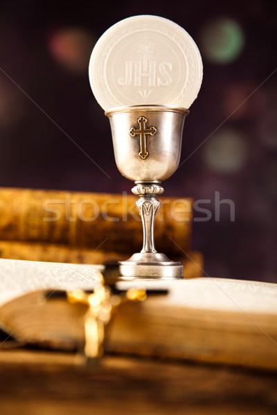 聖なる 聖餐 パン ワイン 明るい 図書 ストックフォト © JanPietruszka