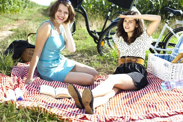 Mädchen Picknick Sommer Freizeit Mädchen Baum Stock foto © JanPietruszka