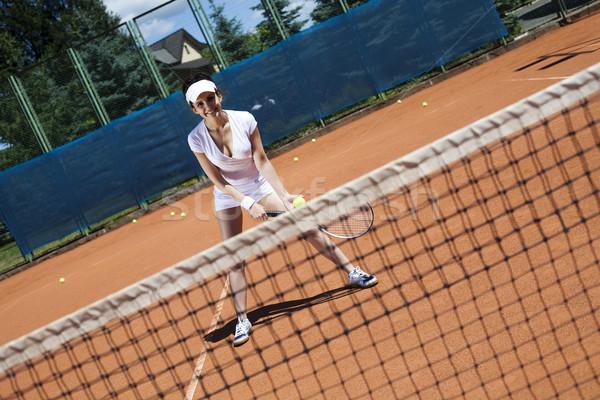 Foto stock: Mulher · jogar · tênis · naturalismo · colorido · diversão