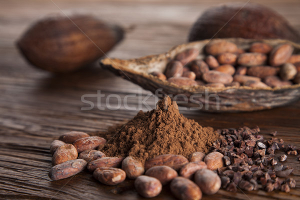 Aromatic cocoa, powder and food dessert background   Stock photo © JanPietruszka