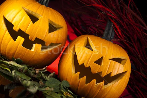 Funny face pumpkin, Halloween Stock photo © JanPietruszka