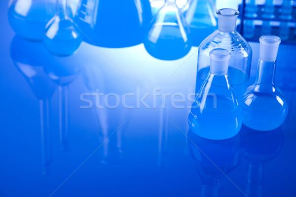 Laboratorium wyroby szklane wyposażenie technologii szkła niebieski Zdjęcia stock © JanPietruszka