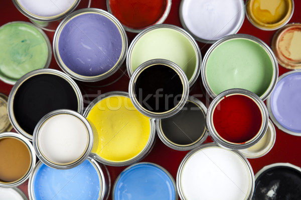 Paint brush and cans, bright colorful tone concept Stock photo © JanPietruszka